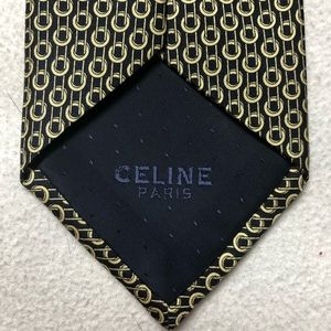 Celine Silk Tie Black And Gold Chain Print